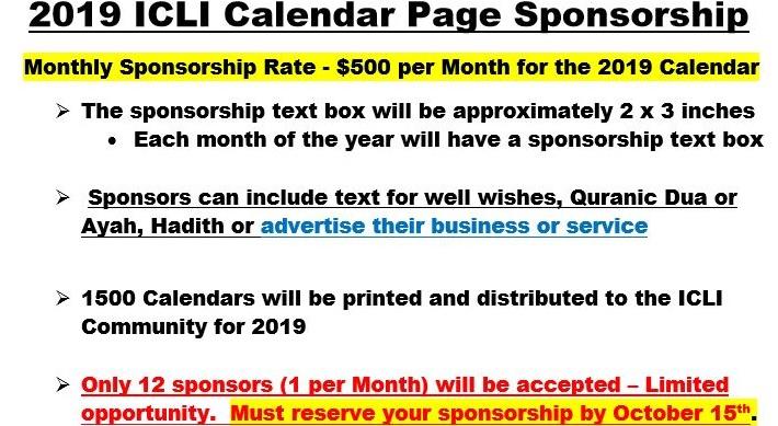 ICLI Canlendar Page Sponsorship