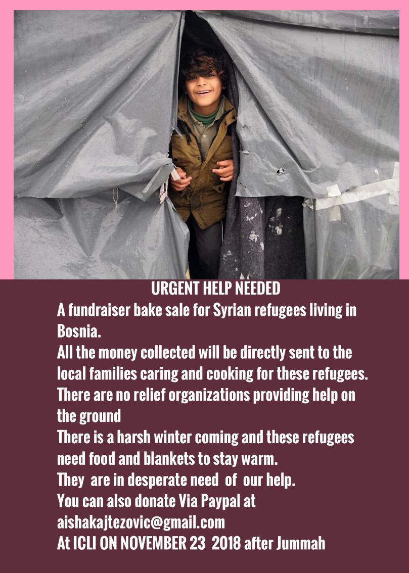 Fundraiser Bake Sale For Syrian Refugees Friday Nov 23 After Jummah