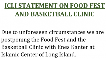 Islamic Center of Long Island Statement on Food Fest and Basketball Clinic
