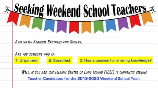 Seeking Weekend School 2019-2020 Teachers!