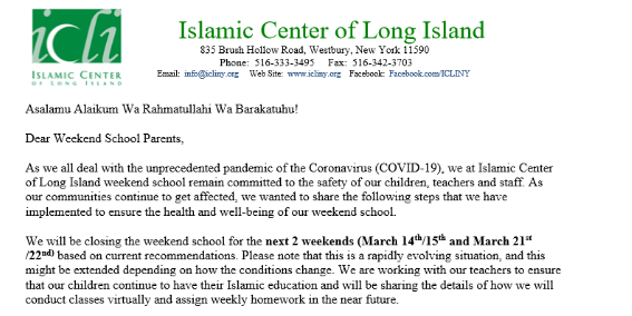Letter to ICLI  Weekend School Parents