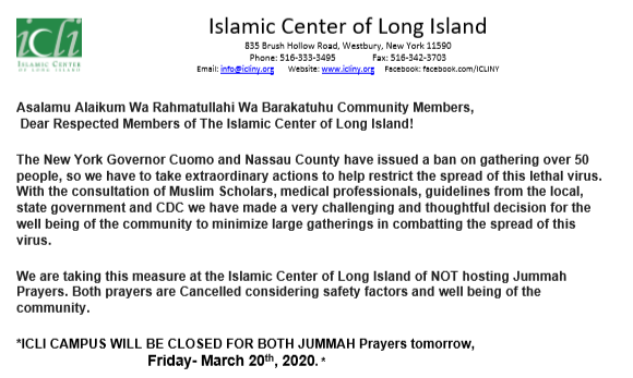 Jummah Prayers Suspended at ICLI for March 20