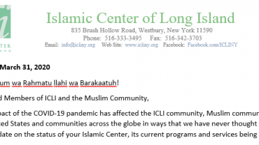 ICLI Update regarding Jummah Prayers, Educational Programs, Ramadan….