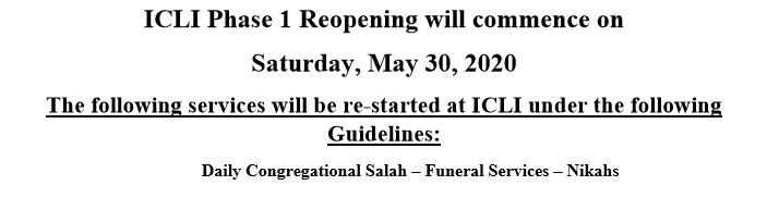 ICLI Reopening Guidelines- Phase 1