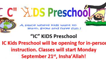 IC Kids Preschool 2020-21- Registration open
