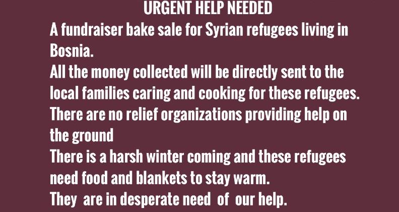 Fundraiser Bake sale for Syrian Refugees, Friday Nov 23 after Jummah