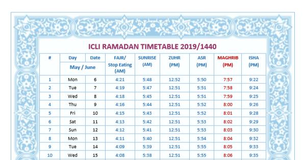 Ramadan 2019/1440 Timetable and Iqamah