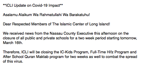 All Educational programs at ICLI closed for two weeks