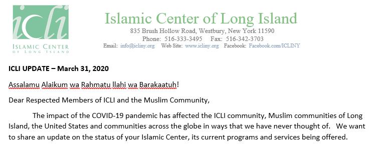 ICLI Update regarding Jummah Prayers, Educational Programs, Ramadan….
