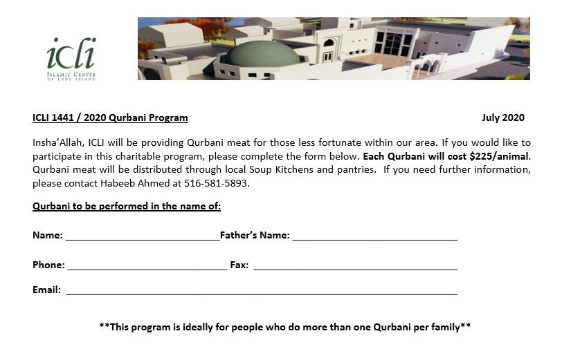 ICLI Qurbani Program 2020