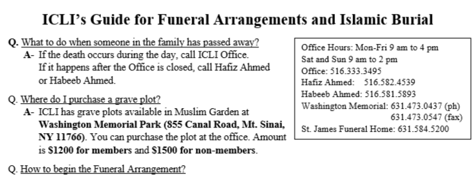 ICLI's Guide for Funeral Funeral Arrangements and Islamic Burial