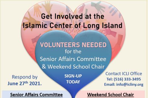 Volunteers Needed for Senior Affairs Committee and Weekend School Chair